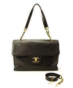 2935a56c9e4c Chanel Black Caviar Leather Super Model Vintage Shoulder Bag in Black