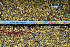 Fans wait for the start of the 2014 World Cup quarter-finals between Colombia and Brazil at the Castelao arena in Fortaleza July 4, 2014.