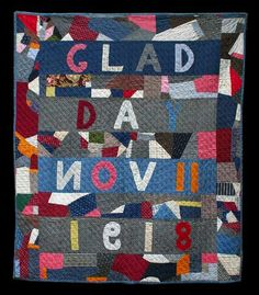 """Glad Day"" Crazy Quilt. Initialed (EFB) and dated (Nov. 11, 1918) Cottons.  Collection of Julie Silber; posted by Laura Nownes"