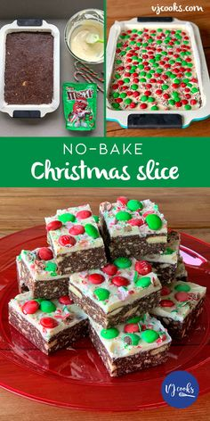 No-bake Christmas slice recipe from VJ cooks - Desserts Christmas Ice Cream, Christmas Ham, Christmas Deserts, Christmas Cooking, Christmas Recipes, Christmas Bake Off, Christmas No Bake Treats, Christmas Sprinkles, Christmas Biscuits