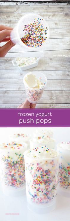 Try making a healthier alternative to a classic summertime treat with these yummy frozen yogurt push pops. This DIY snack recipe can be customized with different yogurt flavors or simple add-ins, like chocolate chips or frozen berries. Try starting with plain vanilla yogurt and colorful sprinkles. Then, see how many different combinations you and your little one can come up with. This is one easy treat that you'll never get tired of making.