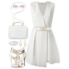 How To Wear Victoria Beckham Sleeveless Flared Dress Outfit Idea 2017 - Fashion Trends Ready To Wear For Plus Size, Curvy Women Over 50 Blue Dress Outfits, Night Outfits, Classy Outfits, Stylish Outfits, Polyvore Outfits, Polyvore Fashion, Frack, Little White Dresses, Look Fashion