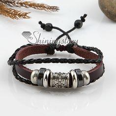 leather jewelry | … leather jewelryAdjustable alloy genuine leather bracelets unisex