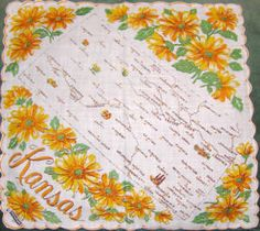 I have this handkerchief on a sunflower quilt that I made!  Love seeing a photo of it here.  Would love to find another one....