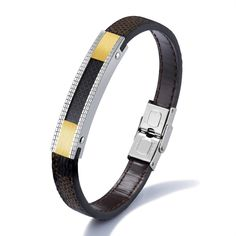 >> Click to Buy << Genuine Leather Bracelets For Men Casual Inlaid Carbon Fibre Silver Gold Color Staiunless Steel Length Adjustable Wristband Wrap #Affiliate
