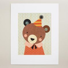 One of my favorite discoveries at WorldMarket.com: Large Party Bear Print on Wood Wall Art