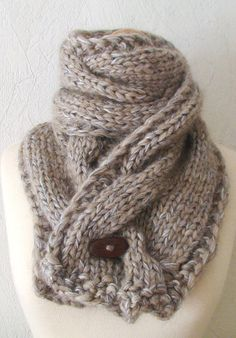 Chunky Scarf Knit Warm Cowl Autumn Winter Cabled in Light Brown/ Grey