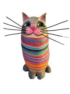 Deko-Objekte - Katze, h ca 30cm, Pappmache - ein Designerstück von villaazula bei DaWanda