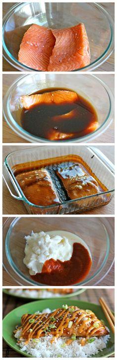 Teriyaki Salmon with Sriracha Cream Sauce - An easy dish with homemadeteriyaki sauce and a sweet and spicy Sriracha cream sauce!