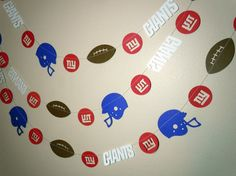 New York Giants Paper Garland by HookedonArtsNCrafts on Etsy