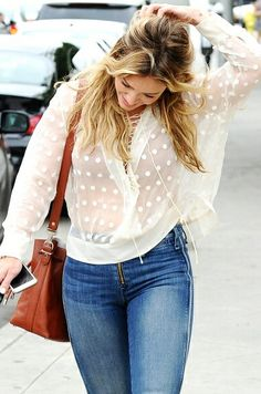 Love the polka-dot see through blouse for those cooler summer days. Watch Hilary in the latest episode of YoungerTV on TV Land at http://www.tvland.com/shows/younger.