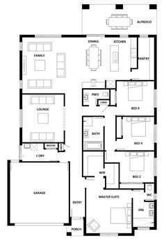 Clyde North Erskine Display Home - Clyde North House Display 4 Bedroom House Plans, Family House Plans, Best House Plans, Dream House Plans, Small House Plans, House Floor Plans, Home Design Floor Plans, House Blueprints, New Home Designs