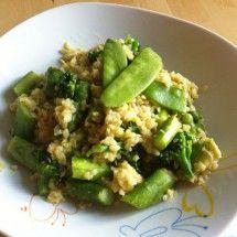 Cremiger Spargel-Bulgur mit grünem Gemüse #rezept