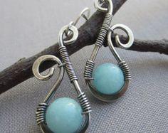Garnet Earrings/ Silver Wire Earrings/ Wire Earrings with by mese9