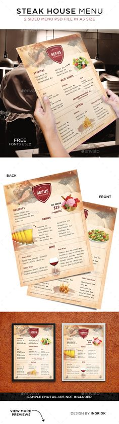 Steak House Menu - 2 sided Template #design Download: http://graphicriver.net/item/steak-house-menu-2-sided/11301626?ref=ksioks