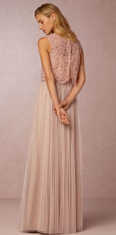 Lace crop top and tulle skirt for bridesmaids from @BHLDN