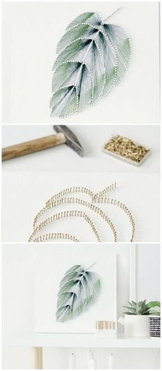 Cheap DIY Thread Leaf Projects Wall Art diy Interior design Cheap DIY Projects For Your Home Decoration Leaf Projects, Diy Art Projects, Diy House Projects, Diy Interior Projects, Diy Projects For Bedroom, Design Projects, Cheap Wall Art, Diy Wall Art, Diy Wall Decor
