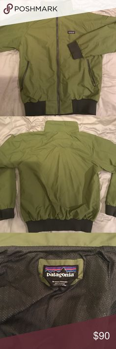 """Patagonia Men's Green Bomber (""""Baggy"""" Jacket) Men's Forrest Green Baggy Jacket from Patagonia. This jacket has a Bomber look / fit with a collar. Jacket has been worn less than 10 total times and looks brand new. Product link: http://www.patagonia.com/product/mens-baggies-jacket/889833726253.html?CAWELAID=120226140000318535&gclid=CJXw_o_1i9MCFcG2wAodYcAAtA Patagonia Jackets & Coats Bomber & Varsity"""