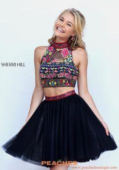 Sherri Hill Short Halter Top Two Piece Dress 50140