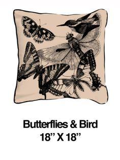 Butterflies And Birds Black Oatmeal