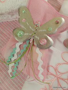 μπομπονιέρα πεταλούδες ζωγραφική