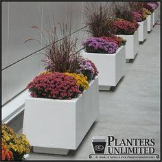 Capri Rectangle Planters - tapered upward with a toe kick at the bottom - http://www.hooksandlattice.com/flower-planters.html