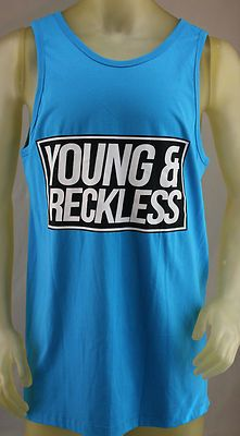 Young & Reckless blue tank top with black & white logo