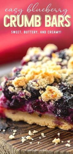 An easy homemade dessert you can make from scratch for Easter! Blueberry Crumb Bars are a new favorite treat. A layer of creamy and buttery shortbread cookie bar is made with fresh blueberries and a delicious crumb topping. Add this to your Easter dessert Milk Dessert, Dessert Bars, Dessert Ideas, Best Dessert Recipes, Real Food Recipes, Delicious Desserts, Real Foods, Bar Recipes, Recipies