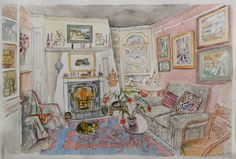 Richard Bawden RWS RE, Lounge with Cat, watercolour. Contact info@banksidegallery.com for further details. See www.banksidegallery.com for other prints and paintings.