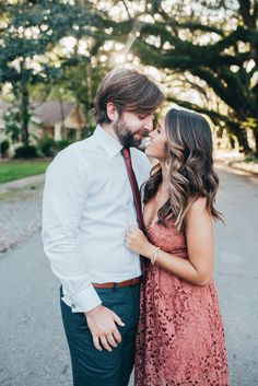 Haute Off The Rack, New Orleans blogger, Louisiana blogger, women's fashion, Engagement Pictures, Engagement Picture Ideas, What to Wear for Engagement Pictures, Rose Lace Midi Dress, Crystal Y-Necklace,  Kendra Scott Earrings, Modern Slim Fit Trousers, Trim Fit Dress Shirt, Burgundy Tie, His and Her Engagement Outfits, Engagement Picture Hair Ideas, Wedding Inspiration, Zac Zac Posen Collection, Kendra Scott Jewelry, Blogger Style, Fall Fashion, Engagement Photo