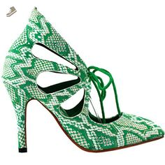 Show Story Sexy Green Pointy Toe Lace Up Cut Out Stiletto High Heel Pump,LF60601GR41,9US,Green - Show story pumps for women (*Amazon Partner-Link)