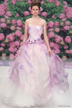 romantic, beautiful, adorable. atelier aimee bridal 2013 rose pink purple print color wedding dress
