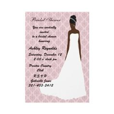 African American bridal shower invitations--lots of invitations for bridal showers, bachelorette parties and other functions for the African American wedding