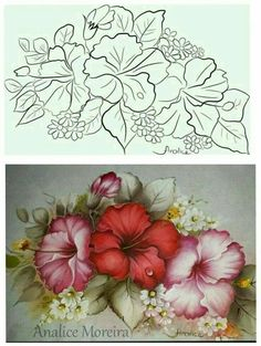 Embroidery Flowers Pattern, Hand Embroidery Designs, Embroidery Art, Painting Patterns, Fabric Painting, Diy Painting, Flower Sketches, Art Drawings Sketches Simple, Fabric Paint Designs