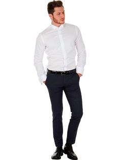 Marcus Tuxedo dress shirt for men with wing tip collar