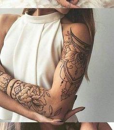 Lotus Arm Sleeve Tattoo Ideas for Women at - Tribal Manda . - Mein tattoo Lotus Arm Sleeve Tattoo Ideas for Women at - Tribal Manda . Full Arm Tattoos, Tattoos For Women Half Sleeve, Upper Arm Tattoos, Arm Sleeve Tattoos, Shoulder Tattoos, Leg Tattoos, Arm Band Tattoo, Tribal Tattoos, Tattoo Girls