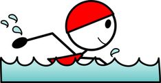 Swimmer Cartoon Clipart Image - Cartoon Stick Figure Swimming