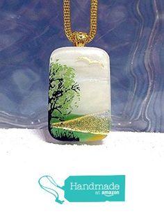 Simple Tree Scene Dichroic Glass Pendant Necklace - Kiln Fired - Ready to Ship A2923 from Lolas Glass Pendants http://www.amazon.com/dp/B01997QZ7Q/ref=hnd_sw_r_pi_dp_ueiBwb08EGCZX #handmadeatamazon
