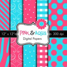 Digital Papers in Pink & Aqua for Personal or Commercial Use by HeadsUpGirlsGraphics on Etsy, $3.00