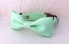 Mint Green Bow Tie Collar for Small Dogs and Cats. $30.00, via Etsy. || For my future frenchie.