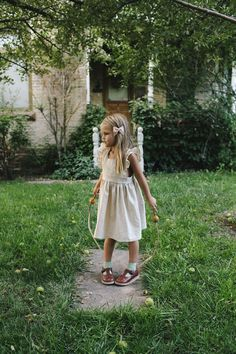 The Wren and James linen pinafore dress in Natural-a timeless, classic, nostalgic, vintage, heirloom piece.