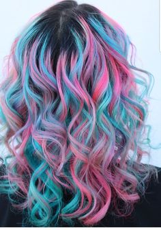 Love this pink and blue hair. The curls really make the color pop. Love this pink and blue hair. The curls really make the color pop. The post Love this pink and blue hair. The curls really make the color pop. Cute Hair Colors, Pretty Hair Color, Beautiful Hair Color, Hair Dye Colors, Hair Color Purple, Rainbow Hair Colors, Crazy Colour Hair Dye, Colourful Hair, Cotton Candy Hair