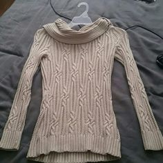 Gorgeous cable knit sweater White House Black Market, beige, cable knit sweater. Bit of a scoop neck, but not too low cut. Never worn White House Black Market Tops Blouses