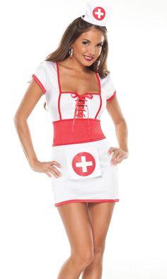 """Костюм медсестры """"Poison"""" состоит из белого платья с широким красным поясом и чепчика. В области декольте шнуровка. Размер One Size"""