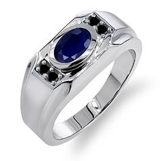 192 Ct Oval Blue Sapphire Black Diamond 925 Sterling Silver Mens Ring ** Visit the image link more details. Mens Band Rings, Rings For Men, Purple Amethyst, Blue Sapphire, Green Peridot, Blue Topaz, Black Diamond, Diamond Rings, Sterling Silver Mens Rings