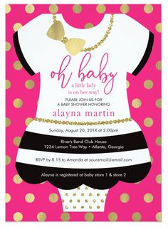 Kate Spade Baby Shower Idea! Oh baby a little lady is on her way! Baby Shower Invitation in Black, White, Gold, and Hot Pink, Fuschia