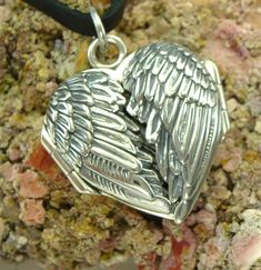 Sterling Angel Wing Heart Locket Pendant with Archival Paper Notes Heirloom Quality Amulet Talisman Charm Handmade in USA Romance Card Gift