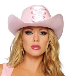 Pink Lace Up Cowgirl Hat