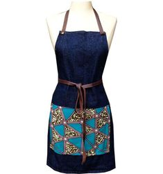 FREE DOMESTIC SHIPPING!• Denim and Leather sourced in NYC + African wax print textile • Removable, handcut leather straps; adjustable neck strap• One size fits all, double lap pockets • M...