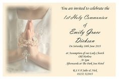 Party Invitations : Personalised Girl and Boy for Communion Invitations with Classic Black Note Wording featuring Beige Backdrop - Holy Communion Invitations Card
